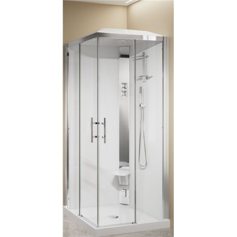 CRYSTAL A90 CABINE DE DOUCHE ACCES D'ANGLE A 2 PORTES COULISSANTES+ 2 FIXES NOVELLINI SPA
