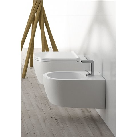 SMILE SET VASO S/BRIDA C/COPRIVASO SLIM SOFT CLOSE + BIDET SOSPESO