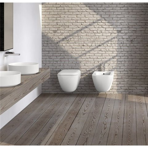 SHUI COMFORT SET VASO S/BRIDA C/COPRIVASO SOFT CLOSE + BIDET SOSPESO